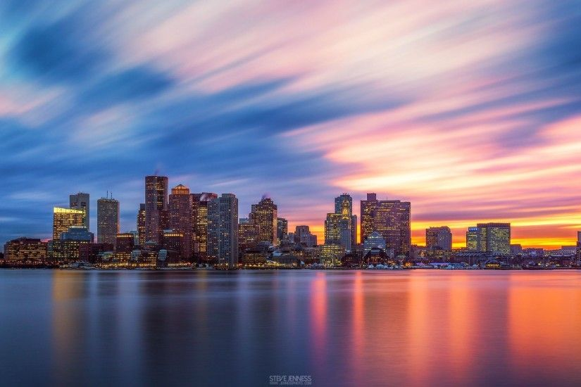 Boston skyline at sunset, 120sec.