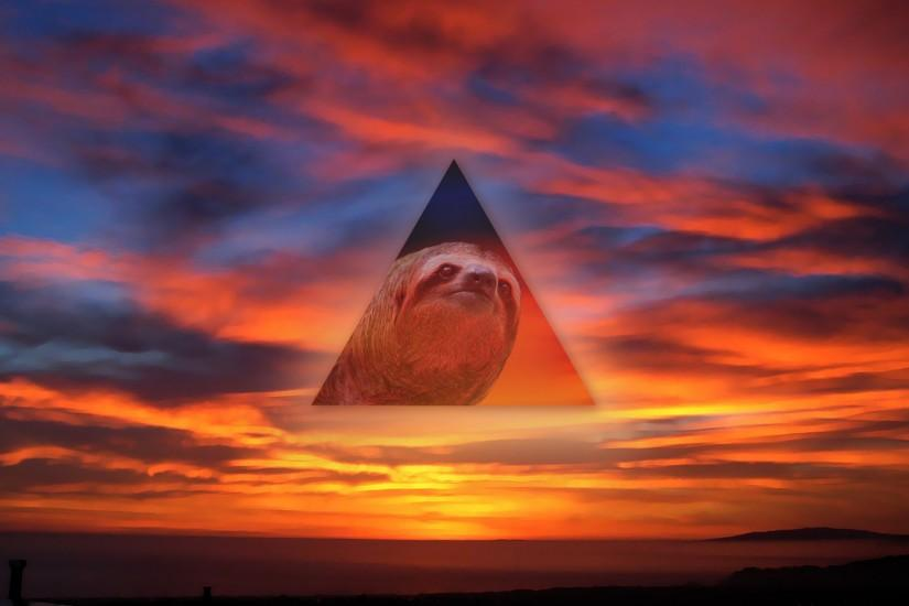 Sloth Triangle Sunset wallpaper