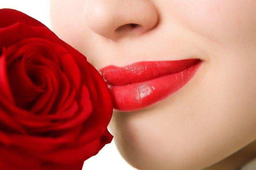 Rose With Lips Kiss Hot Girls HD Photos