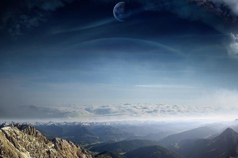 Dreamy Tag - Alien Scenic Clouds Landscapes Moons Dreamy Planets Sci  Manipulations Digital Mountains Skies Art