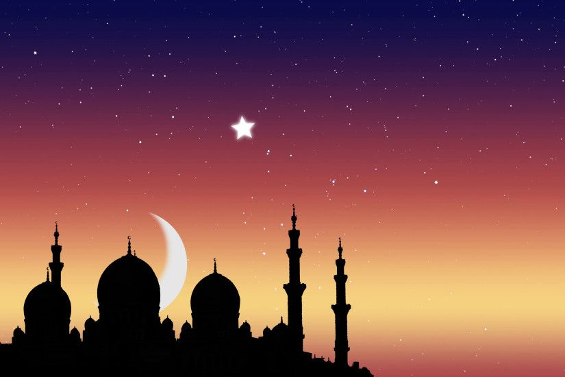 Ramadan Kareem islamic background. Moonrise over the mosque and the light  of the stars. Motion Background - VideoBlocks