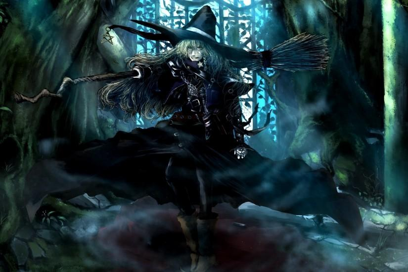 Witch with a broom on his shoulder from the anime