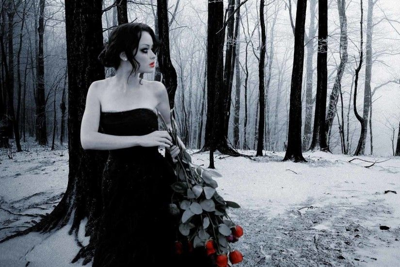 Black and white girl with red rose in forest nature love wallpaper
