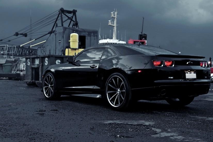 Black Chevrolet Camaro on a rainy day wallpaper 1920x1080 jpg