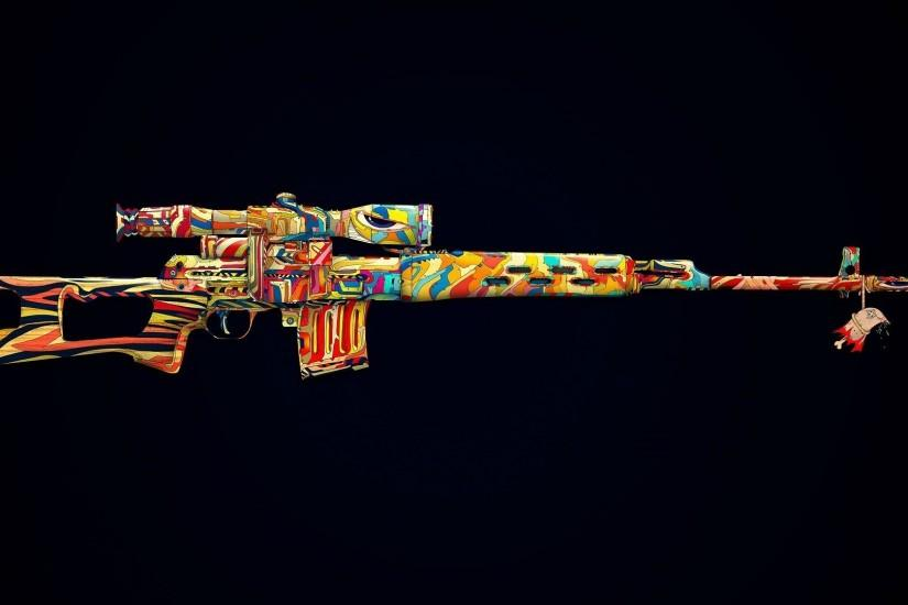 Colorized machine gun Wallpaper #2759