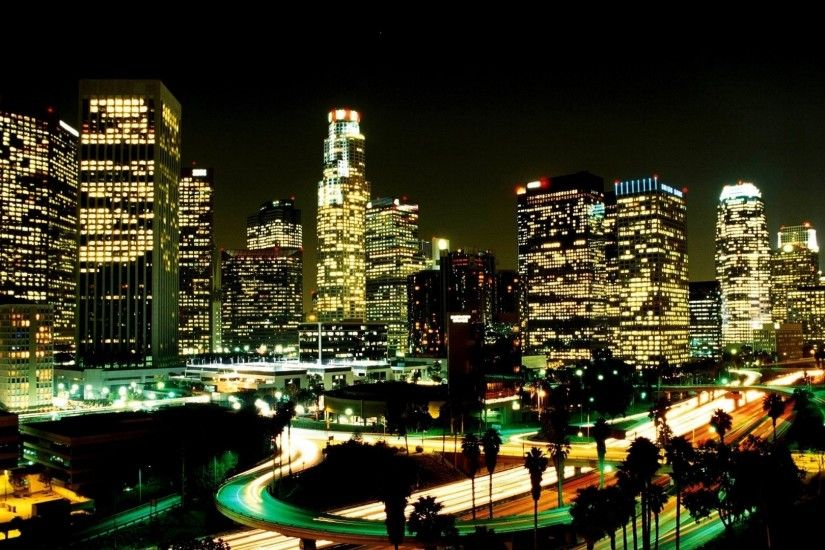 1920x1080 Wallpaper los angeles, city, night, street, skyscrapers