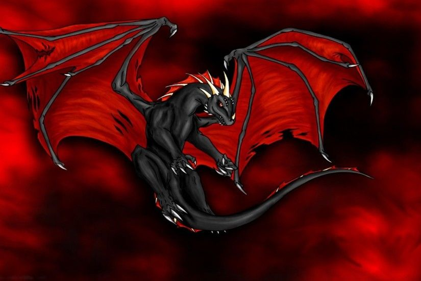 Black Dragon with Red Wings Wallpaper