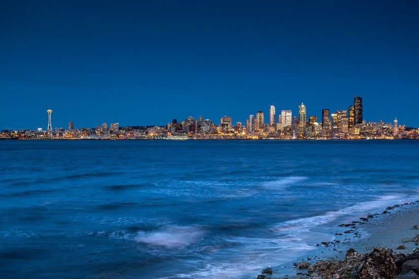 Preview wallpaper seattle, city, sea, sky 2560x1440