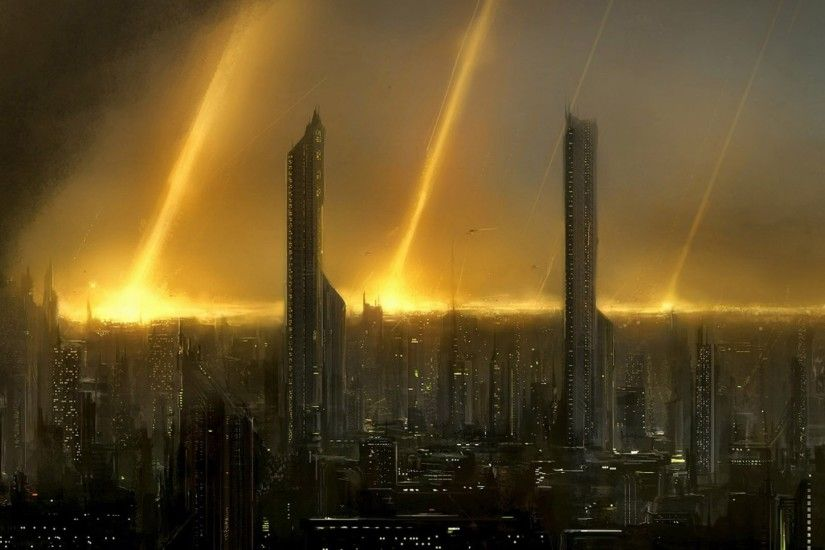 Preview wallpaper eve online, city, houses, sky, light 1920x1080