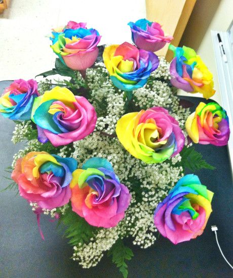 Beautiful flowers · Rainbow roses