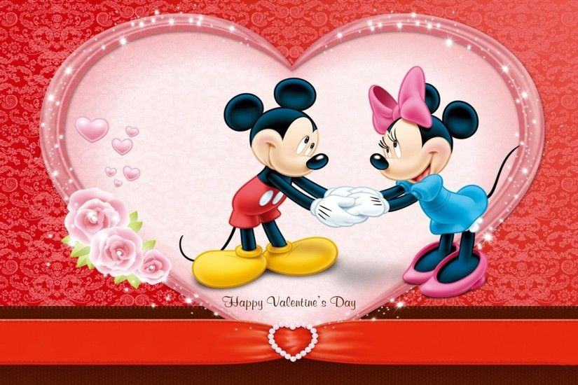 cute mickey wishes happy valentines day wallpaper Wallpaper with 1920x1080