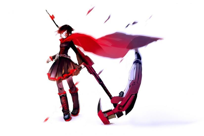 Ammunition Anime Girls Bangs Belts Black Eyes Hair Boots Cloaks Corset  Cross Flower Petals Jackets Red Ruby Rose RWBY Scythe Short Simple  Background Weapons ...