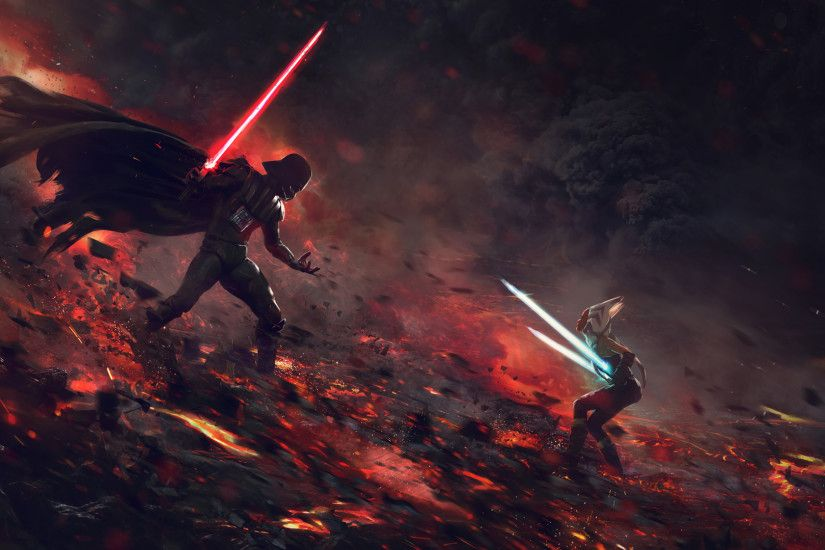 Movie - Star Wars Darth Vader Ahsoka Tano Wallpaper