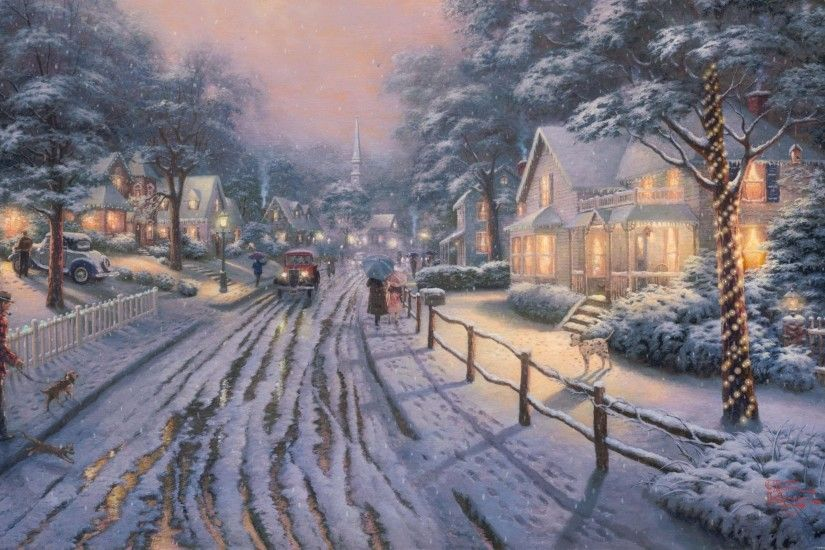 Gallery of Thomas Kinkade Christmas Cottage Wallpaper