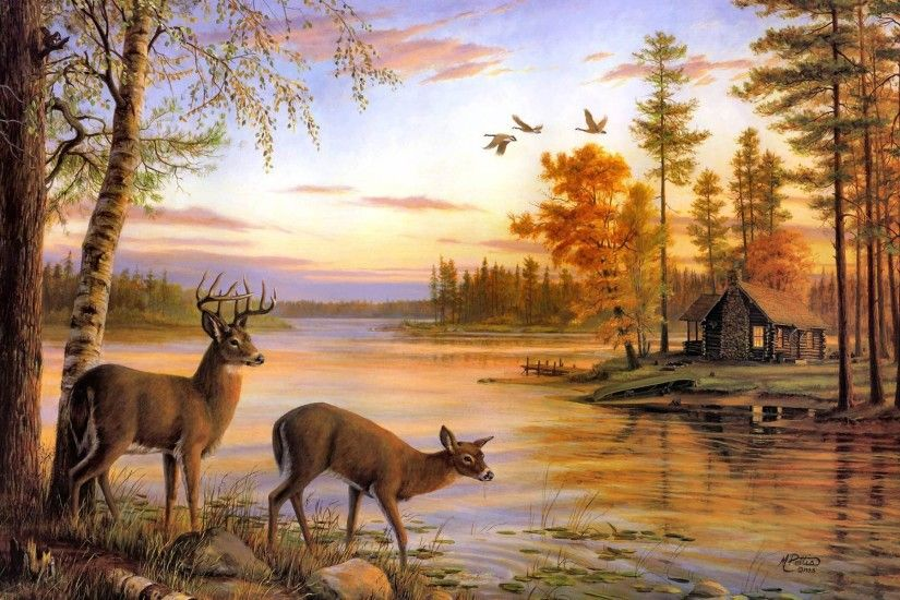 Wallpapers For > Whitetail Deer Painting Wallpaper