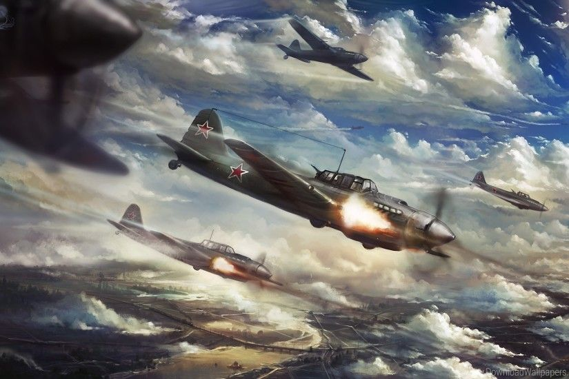 Aircraft, Art, Attack, Attack, Clouds, Fire, Ilyushin Il-2