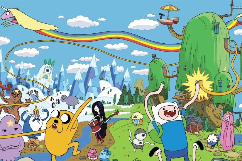 Adventure Time drawn Finn the Human Jake the Dog Marceline the Vampire  Queen Princess Bubblegum Lady Rainicorn Ice King Lumpy Space Princess  Marceline ...