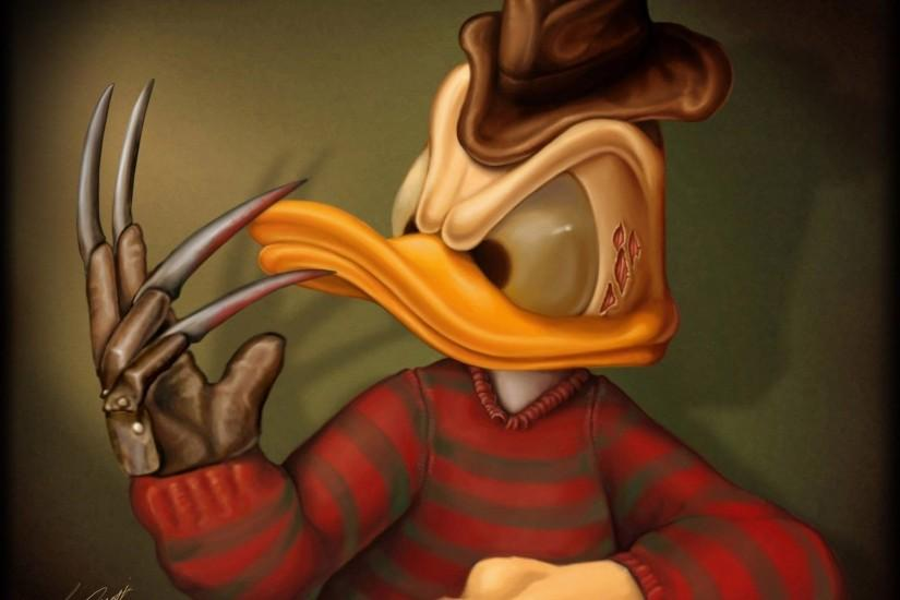 Donald Duck as Freddy Krueger Exclusive HD Wallpapers