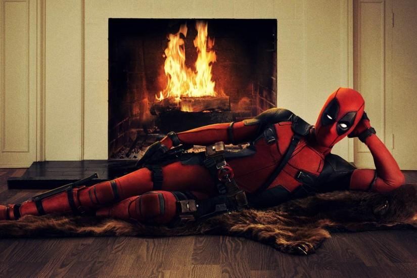 Sensual Deadpool Posing on a Bearskin Rug in front of a Fireplace 1920x1080  wallpaper