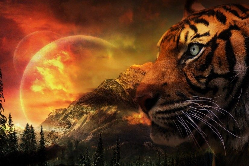 Fantasy Landscape Tiger | Home - Wallpapers / Photographs - Fantasy ,  Animals - Tiger in