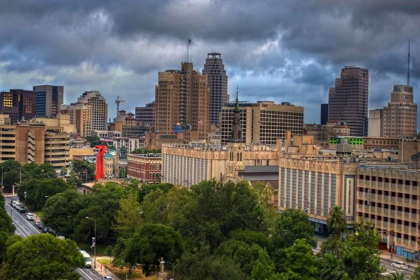 Preview wallpaper san antonio, texas, skyscrapers, trees, view from above  1920x1080