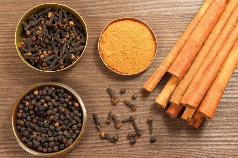 1920x1080 Wallpaper spices, table, bowls, cinnamon, cloves, black pepper,  curry