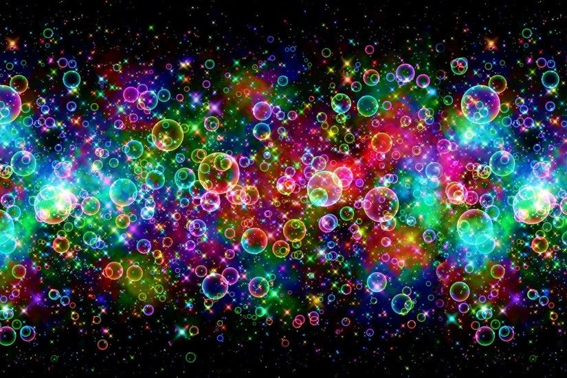 Bubbles colors shine in black nice background wallpapers