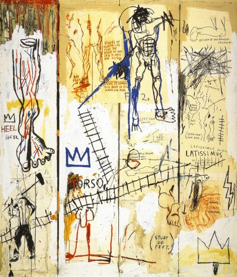 Oxidized silkscreen on canvas 40 x Basquiat ...