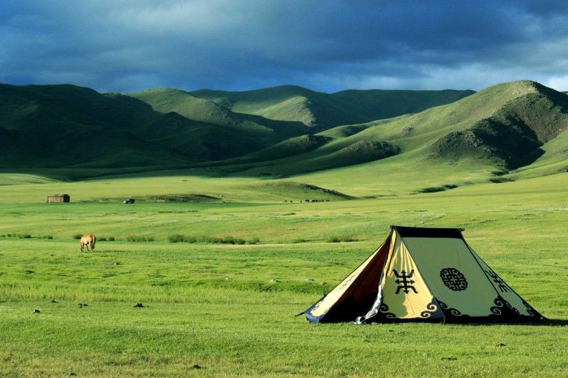 nature, Landscape, Mongolia, Tents, Steppe, Field, Hill Wallpapers HD /  Desktop and Mobile Backgrounds