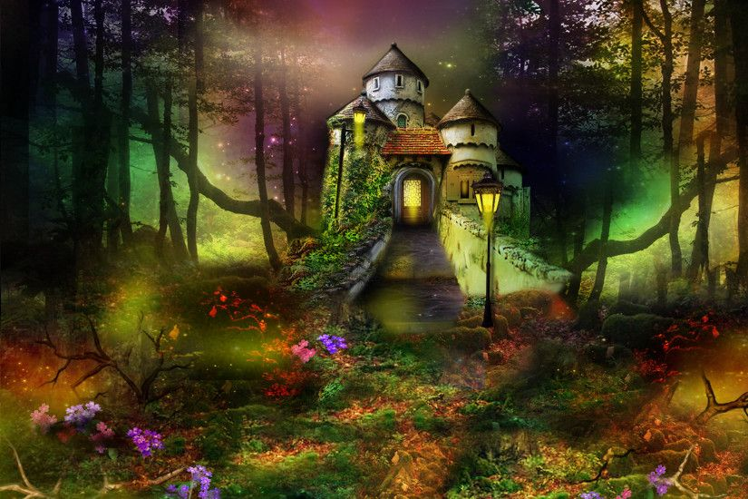 Fantasy - Artistic Fantasy Castle Forest Lantern Flower Wallpaper