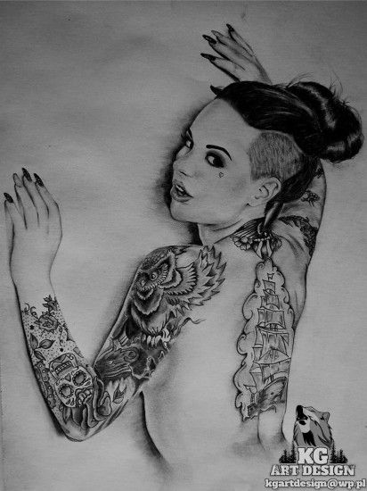 ... Christy Mack old pencil drawing by KGArtDesign