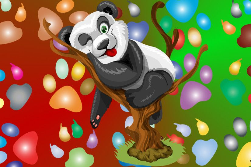 Giant panda with bamboo; Panda bear in tree and paw prints