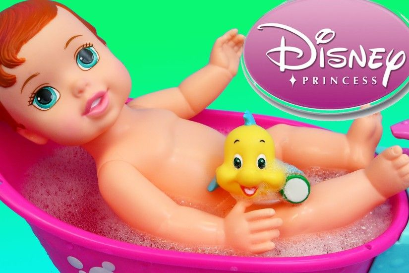 Disney Princess Little Mermaid Ariel Baby Doll Bath Time Bathtub Set -  YouTube