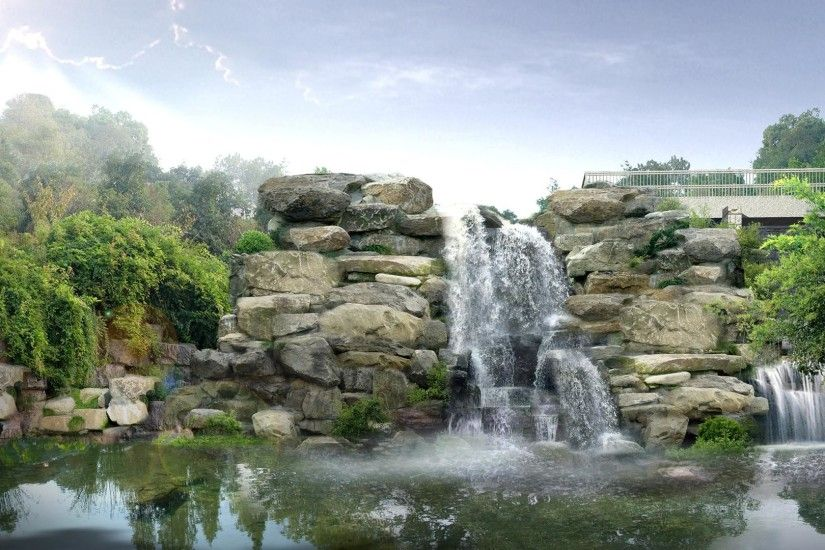 1920x1080 Rockery trees waterfall desktop backgrounds wide wallpapers:1280x800,1440x900,1680x1050  - hd