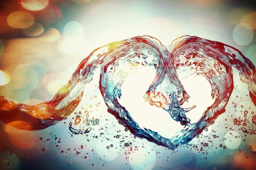 Beautiful love heart from water waves