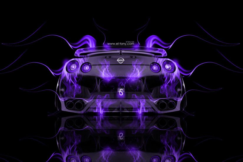 ... Nissan-GTR-R35-Back-Violet-Fire-Abstract-Car-