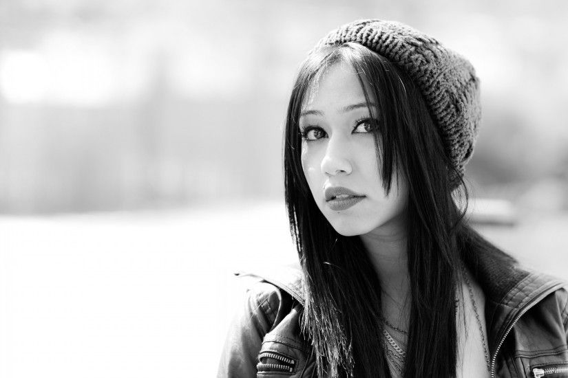 1920x1080 Cute Asian Girl Monochrome Close-up desktop PC and Mac wallpaper