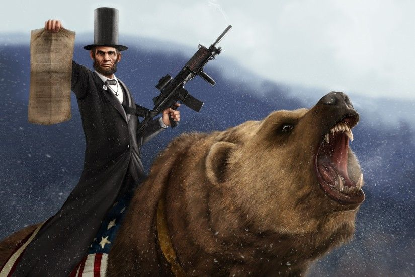 bears, Abraham Lincoln, Weapon, Rare, Humor, Presidents Wallpapers HD /  Desktop and Mobile Backgrounds