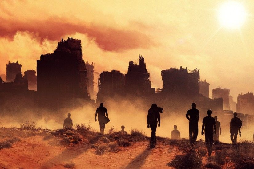 2560x1440 Wallpaper maze runner the scorch trials, silhouettes, city
