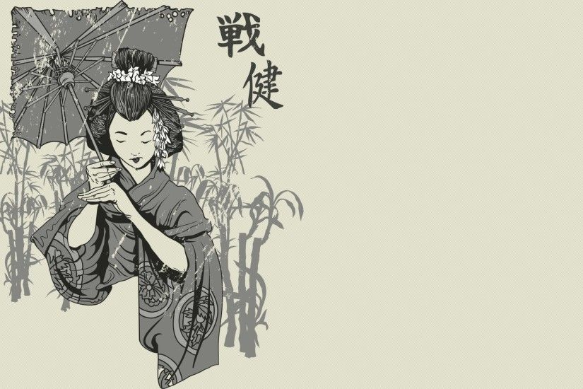 Japanese Art Geisha Traditional Paint Wallpaper