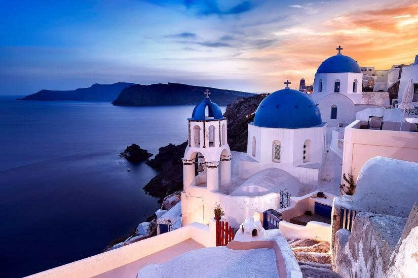 Oia Santorini Greece Oia Santorini Greece Aegean Sea church coast rocks sea  wallpaper