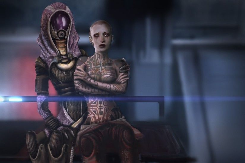 1920x1080 Wallpaper mass effect, jack, hood, look, faces, characters