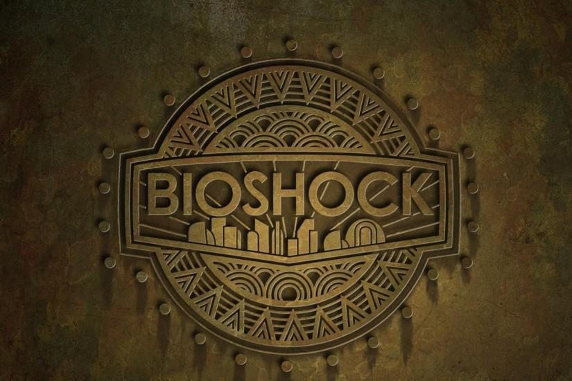 Preview wallpaper bioshock, name, background, city, emblem 3840x2160
