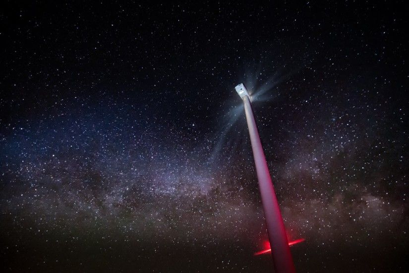 4K HD Wallpaper: Wind Farm and Milky Way
