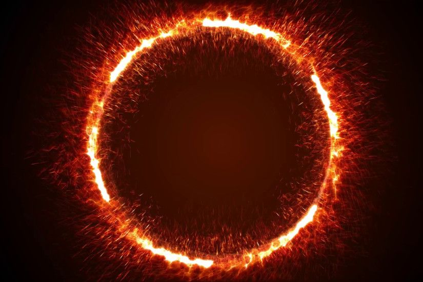 Subscription Library Seamless animation of abstract ring of fire flame  fireworks burning. Sparking fire circle pattern or