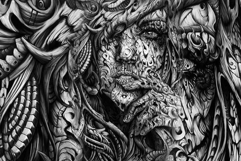 face, Hands, Open Mouth, Women, Monochrome, Black, White, Digital Art,  Artwork, 3D, Abstract Wallpapers HD / Desktop and Mobile Backgrounds