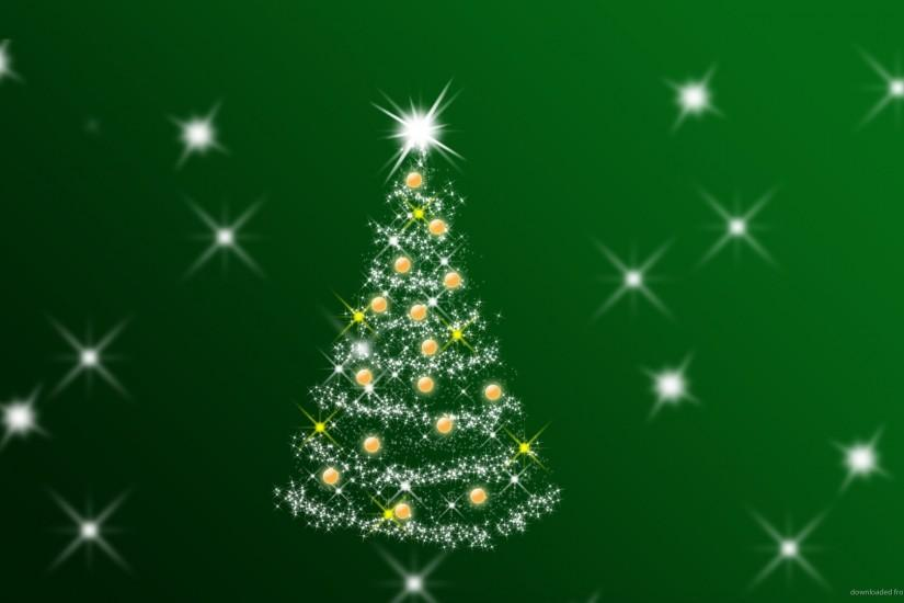 1280x720 Green Christmas Background with Tree and Stars wallpaper