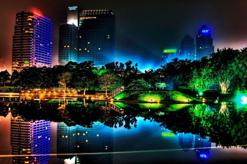 Mosaic Free Hd City Night Neon Wallpaper in Full High 1920×1080 Resolution