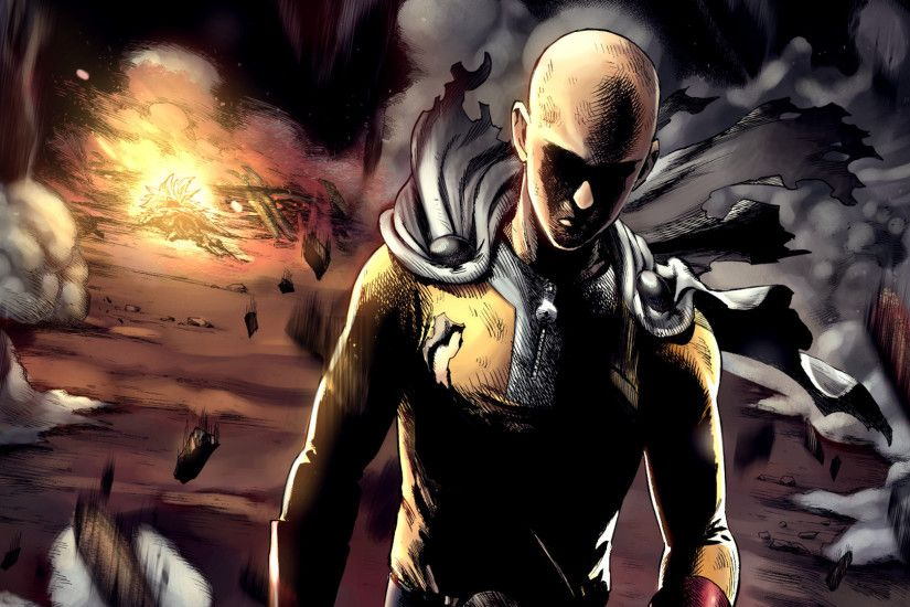 Saitama in an explosion - One-Punch Man wallpaper 1920x1080 jpg