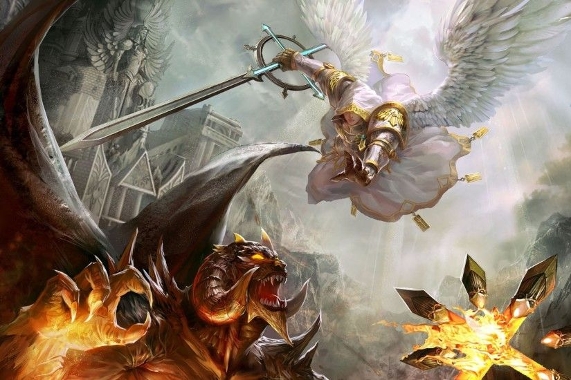 Angels Artwork Battles Demons Devil Fight Fire Good Vs Evil Heroes Of Might  And Magic V Swords Video Games Weapons Wings